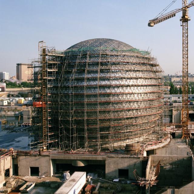 Chantier de construction de la Geode - 1983 à 1985