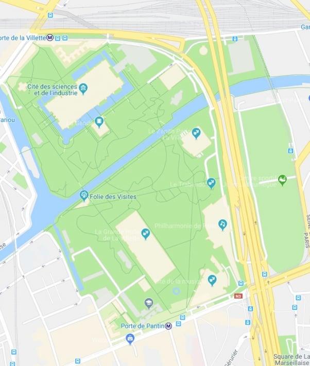 Plan du parc de La Villette